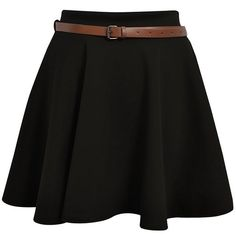 New Ladies Girls Skater Belted Stretch Waist Plain Flippy Flared Jersey  Short Skirt Womens Size 8 10 12 14  Amazon.co.uk  Clothing 6707df86db9e