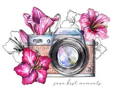 Watercolor vintage camera with flowers – Cute drawings of objects Camera Drawing, Camera Art, Camera Painting, Camera Doodle, Art Drawings Sketches, Cute Drawings, Colorful Drawings, Watercolor Illustration, Watercolor Paintings
