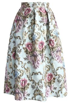 My Fair Lady Baroque Embroidery Midi Skirt - Skirt - Bottoms - Retro, Indie and Unique Fashion