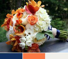 Wedding color scheme. Navy, orange & cream/ivory/white.