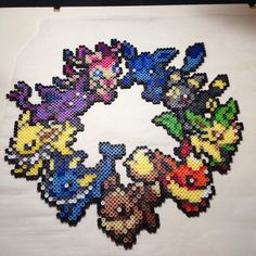 Eevelution wreath - Pokemon perler beads by PhilthyTurtlePerler: