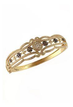 Prism Yellow Gold and cognac Diamond Filigree Bangle Bracelet , 2.03 TCW