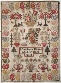 Sampler (motifs), made in Seven Sisters, 1854 ::: Gathering the Jewels