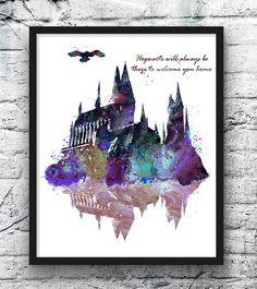 Hogwarts Castillo Harry Potter Hogwarts pintura película cartel acuarela impresión amarillo niños pared colgante niños habitación Home Decor Este grabados son reproducciones de mi obra de arte. Soy artista de tiempo completo de Europa. Se trata de un cartel de niños de alta calidad