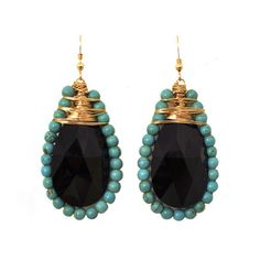 Black Swarovski Crystal and Turquoise Earrings by Jeweliany