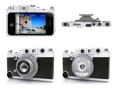 Gizmon, iCA, funda para el iPhone, que le da aspecto de cámara antigua y permite añadir accesorios adicionales.