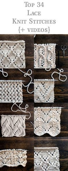 Top 34 Lace Knit Stitches Bundle - Crochet and Knitting PatternsYou can find Lace knitting and more on our website.Top 34 Lace Knit Stitches Bundle - Crochet and Knitti. Lace Knitting Stitches, Lace Knitting Patterns, Free Knitting, Sewing Patterns, Knitting Yarn, Knitting Ideas, Start Knitting, Knitting Tutorials, Knitting Beginners