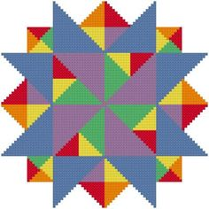 Multiple Points - Quilts cross stitch pattern designed by Susan Saltzgiver. Category: Arts.