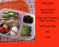 Ham and cheese sandwich, cherry tomatoes and cheese, hard boiled egg, jello, and fruit.