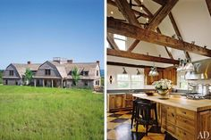 This 11,000-square-foot Shingle-style house, built by Nantucket Architecture Group, sits above the island's north-shore dunes and offers scenic views of the water. The owners, a couple from Los Angeles, hired interior designer Karin Blake to give the home a relaxed, aged feel. The double-height kitchen's reclaimed beams were flown in from New Hampshire, and the 1870s pine flooring was stenciled by a local artist.
