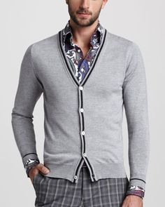 Elbow-Patch Cardigan by Etro at Bergdorf Goodman.