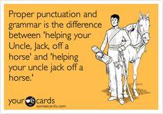 Proper punctuation and grammar