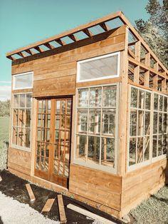 How I Built my Dream Greenhouse - Arrows & Twine Outdoor Greenhouse, Backyard Greenhouse, Greenhouse Plans, Backyard Sheds, Backyard Landscaping, Garden Sheds, Farmhouse Greenhouses, Farmhouse Garden, Modern Farmhouse
