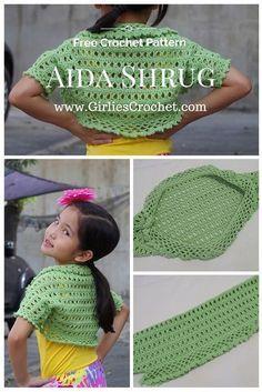 Free Crochet Pattern: Aida Shrug , a kid's bolero crochet pattern with photo tutorial in each step to guide you. ༺✿ƬⱤღ https://www.pinterest.com/teretegui/✿༻