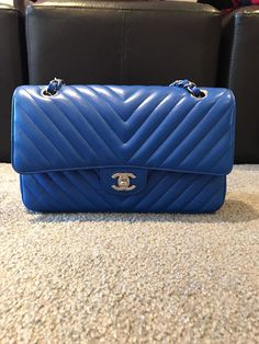 f14bf54a5d59 Chanel Chevron Medium Blue Caviar www.luxurysnob.com. Chanel Le Boy ...