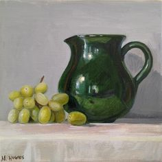 "Daily Paintworks - ""Petite Green Pitcher with Green Grapes, No. 1"" - Original Fine Art for Sale - © Naomi Hughes"
