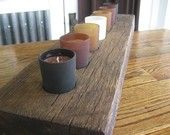 Rustic barn beam candle holder
