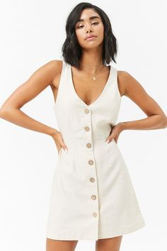Product Name:Sleeveless Button-Front Linen Dress, Category:dress, – Linen Dresses For Women Linen Dresses, Day Dresses, Cute Dresses, Dress Outfits, Casual Dresses, Short Dresses, Summer Dresses, Modelos Fashion, Rajputi Dress