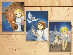 Christmas angels Set THREE 6x8 inch prints Guardian angel painting Sweet angels Religious art for kids Nursery decor Gift for new baby by Mirabilitas on Etsy