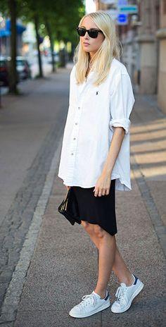 เสื้อเชิ้ตสีขาว Ralph Lauren, กระโปรงสีดำ H&M, รองท้า Adidas Stan Smith, กระเป๋า Céline