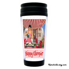 """Funny """"Happy Glamper"""" Travel or Camping Mug by kitschville. Retro, vintage fun :)  Get one for the person on your list that loves to glamp! #Glamping #Glamper #GlamperGift"""