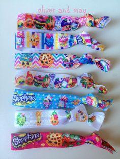 Shopkins Fan Pack 7 Elastic Hair Ties Bracelets by OliverandMay