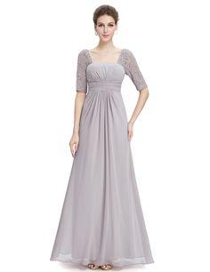 Ever Pretty Half Sleeve Square Neckline Ruched Waist Evening Dress 08038: Amazon Fashion