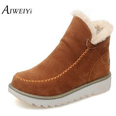 99dc2f0da19767 AIWEIYi Big Size 34 43 Women Ankle Boots Flock Round toe Gladiator Shoes  Women Fur Warm Winter Shoes for Women Snow Boots Botas-in Ankle Boots from  Shoes on ...
