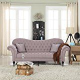 Classic Chesterfield Tufted Linen Fabric Victorian Sofa with Scroll Arms (Light Grey)
