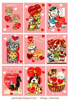 Retro Valentines, school valentines, gift tags, cards, Vintage Cats and Dogs Kids' Valentines Free Printable Images and Cards