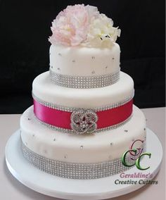 Cake with Silver Bling and Pink detail