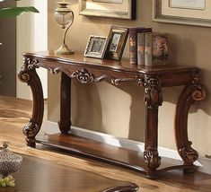 Bringing a sense of traditionally vintage sitting arrangement is possible with this perfect inclusion. With a completely wood finish, this Victorian design sofa table features a complete cherry brown finish with scrolled trim accents throughout for a Sitting Arrangement, Wooden Sofa, Victorian Design, Tuscan Decorating, Sofa Tables, Console Tables, Brown Wood, Shabby Chic Furniture, Furniture Making