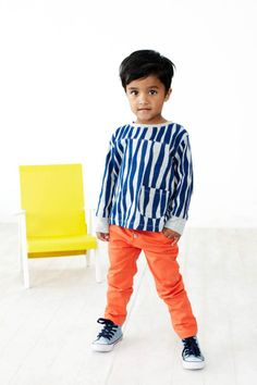 LOVE dressing my kids in orange so I find them fast on the playground ; )   blue grey striped longsleeve shirt - Baobab