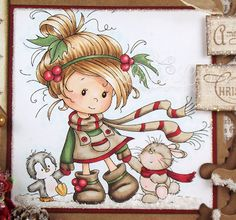 Sticky with Glitter: Winter Friends at Crafty Catz Christmas Drawing, Christmas Paintings, Christmas Pictures, Kids Christmas, Art Impressions Stamps, Whimsy Stamps, Christmas Clipart, Copics, Fabric Painting