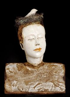 brown - woman with bird -  head - sculpture - Cathy Rose