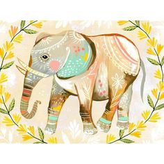 Oopsy Daisy Wild Flower Elephant Canvas Wall Art, by Katie Daisy Elephant Canvas Art, Elephant Love, Elephant Poster, Elephant Nursery, Daisy Art, Acrylic Artwork, Colorful Wall Art, Framed Art, Canvas Wall Art