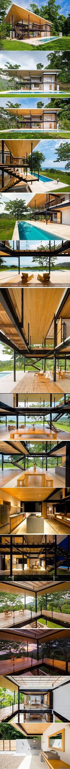 This Tropical House Is Almost Completely Open To The Outside Modern Tropical House, Tropical House Design, Tropical Houses, Architecture Design, Tropical Architecture, Steel Framing, Estilo Tropical, Cottage Design, Glass House
