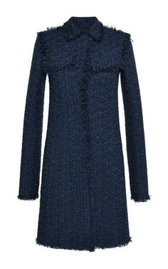 Black And Navy Tweed Coat by Nina Ricci for Preorder on Moda Operandi