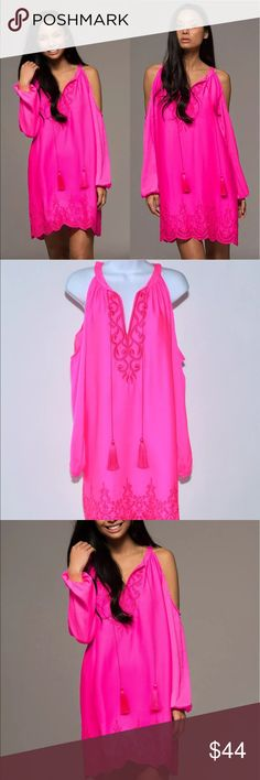 Selling this Macbeth Neon Pink Cold Shoulder Dress XS on Poshmark! My username is: mcfausnight. #shopmycloset #poshmark #fashion #shopping #style #forsale #Macbeth Collection #Dresses & Skirts
