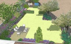 Stepped edge lawn to accommodate a triangular site.