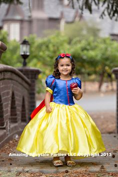 Snow White Princess Dress Costume Girls Halloween, Dress Up, Birthday, Holiday Gift & perfect for any occasion and adorable for Toddlers Too... $55