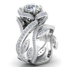 Silver-Fancy-Bridal-Designer-Wedding-Floral-Pattern-925-Sterling-Silver-Ring
