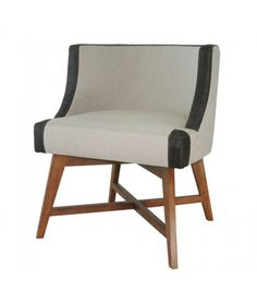 Linen Accent Chair with Leather Detail