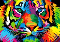 by weercolor sayitloud art, art drawings och tiger ar Tiger Painting, Ceramic Painting, Diy Painting, Colorful Animal Paintings, Colorful Animals, Arte Pop, Pintura Vector, Ciel Pastel, Tiger Art