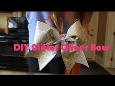 DIY Glitter Cheer Bow using t-shirt vinyl ironed on ribbon