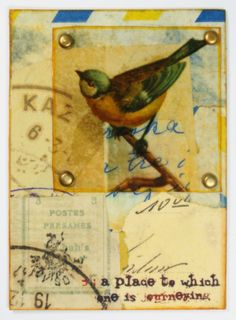 """Original bird themed artist card, entitled """"Journeying"""". This collaged card was made with various vintage and modern ephemera, postage, correspondence, clear overlay and brads, on a cardstock/scrapbook paper base. Titled, stamped and dated on the back by the artist (hey, that's me!).  Card meas..."""