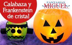 Calabaza y Frankenstein de cristal / Velas / Decoración / Halloween / Día de Muertos