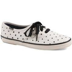 Keds Champion Dot Print Sneaker ($30) ❤ liked on Polyvore featuring shoes, sneakers, tennis shoes, white, keds, lace up shoes, round toe sneakers and lace up tennis shoes