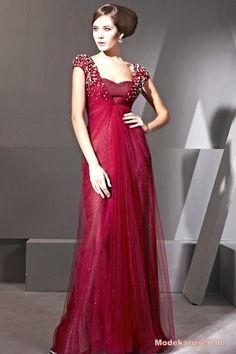 Perlen Abendmode Abend Kleid mit Queen Anne Ausschnitt
