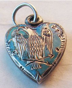 Victorian Enameled Eagle Silver Puffy Heart Charm ~ From The Estate of Joan Munkacsi